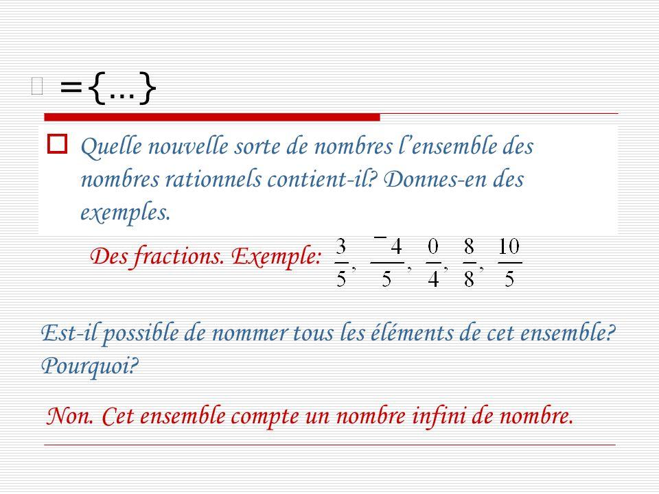 ={…} Quelle nouvelle sorte de nombres lensemble des nombres rationnels contient-il? Donnes-en des exemples. Des fractions. Exemple: Est-il possible de