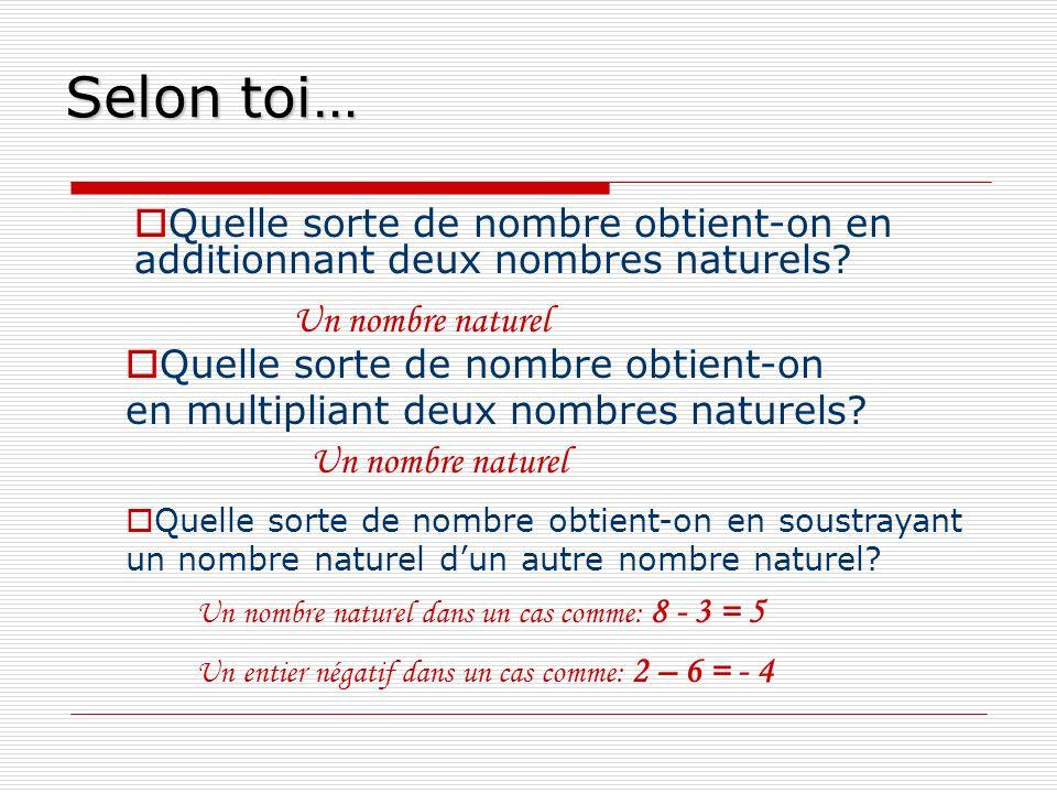 Selon toi… Quelle sorte de nombre obtient-on en additionnant deux nombres naturels? Un nombre naturel Quelle sorte de nombre obtient-on en multipliant