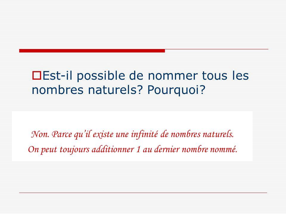 Non. Parce quil existe une infinité de nombres naturels. On peut toujours additionner 1 au dernier nombre nommé. Est-il possible de nommer tous les no