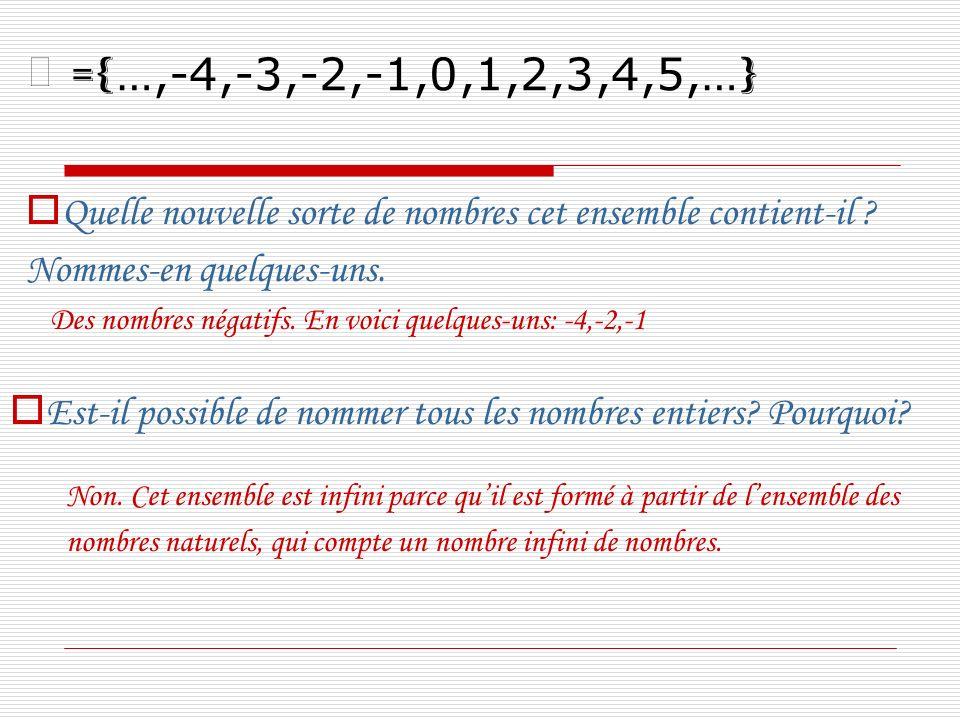 Quelle nouvelle sorte de nombres cet ensemble contient-il ? Nommes-en quelques-uns. Des nombres négatifs. En voici quelques-uns: -4,-2,-1 Est-il possi