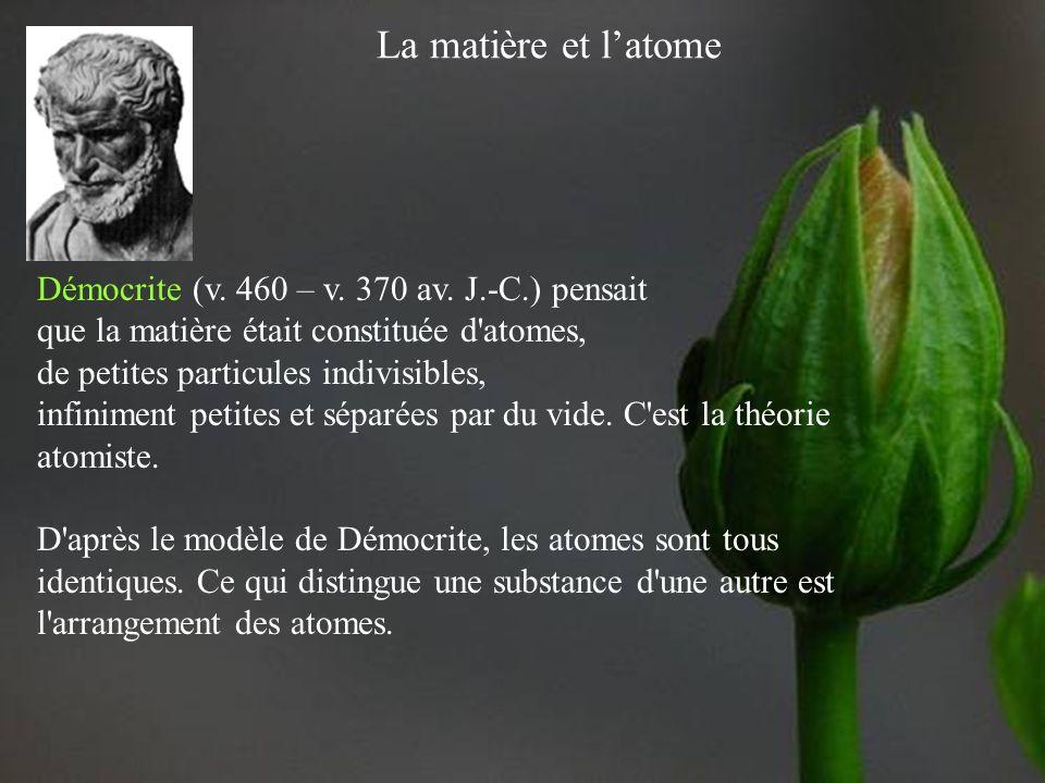 La matière et latome Aristote (384 – 322 av. J.-C.) croyait que la matière était continue, qu'elle ne comportait aucun vide. C'est la théorie de la co
