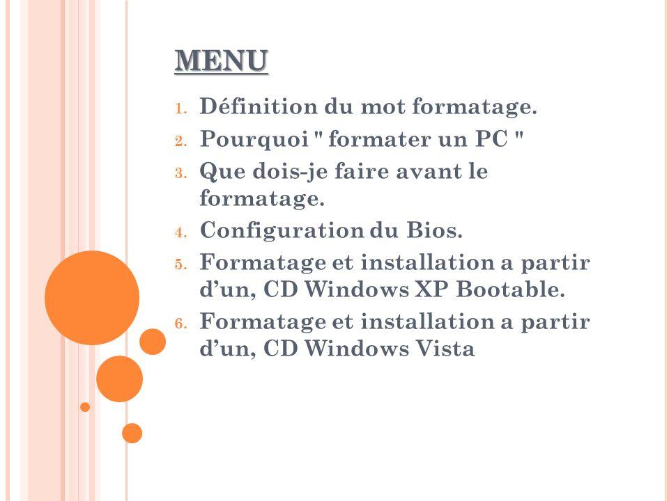 MENU 1. Définition du mot formatage. 2. Pourquoi