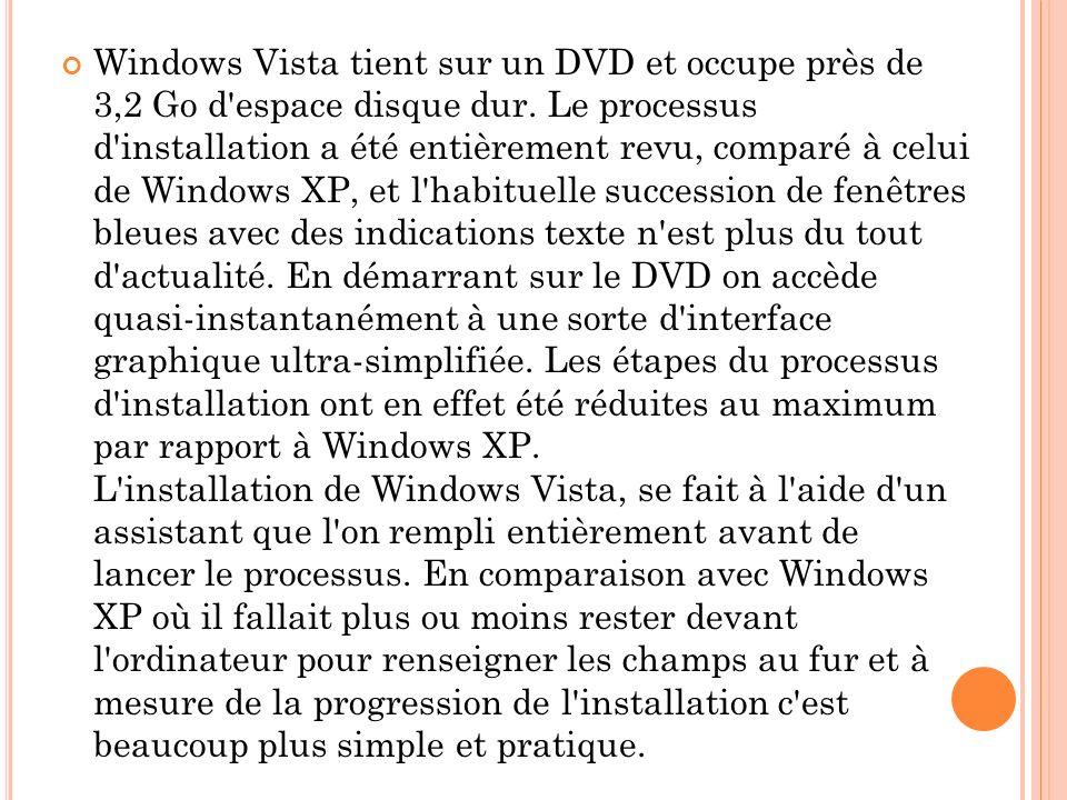 Windows Vista tient sur un DVD et occupe près de 3,2 Go d'espace disque dur. Le processus d'installation a été entièrement revu, comparé à celui de Wi