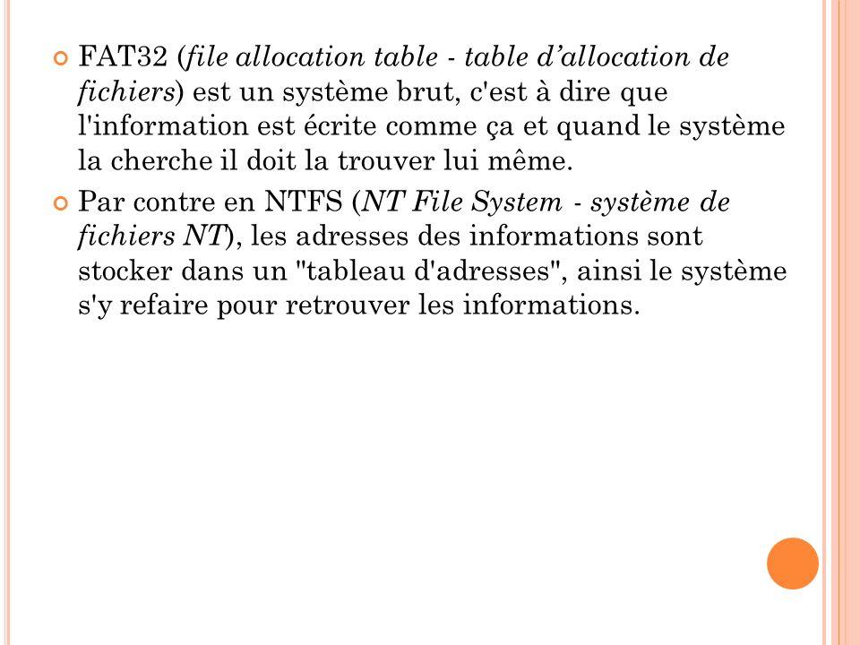 FAT32 ( file allocation table - table dallocation de fichiers ) est un système brut, c'est à dire que l'information est écrite comme ça et quand le sy