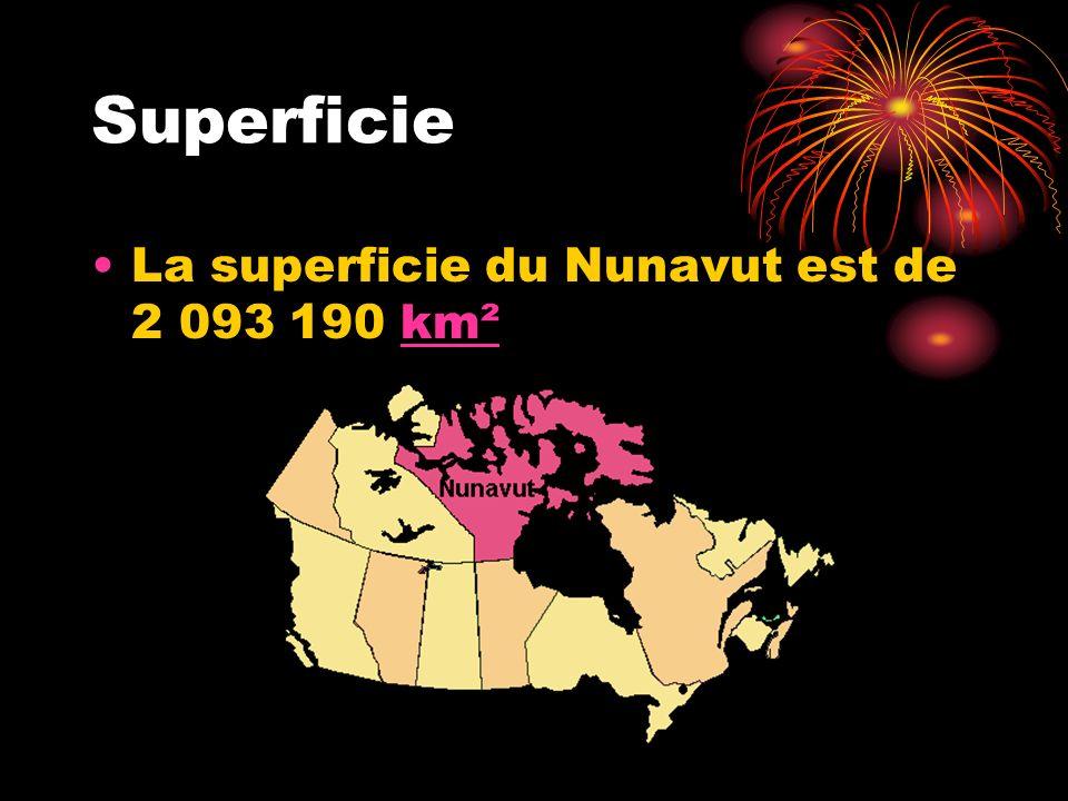 Superficie La superficie du Nunavut est de 2 093 190 km²