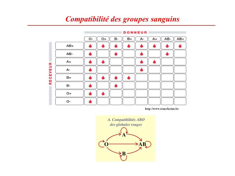 Compatibilité des groupes sanguins http://www.transfusion.be
