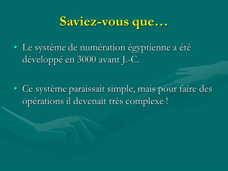 Saviez-vous que… Le système de numération égyptienne a été développé en 3000 avant J.-C.Le système de numération égyptienne a été développé en 3000 av