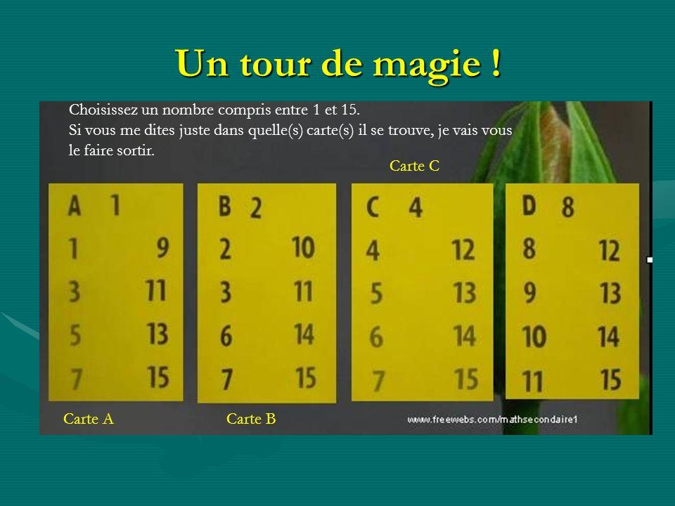 Un tour de magie ! Choisissez un nombre compris entre 1 et 15. Si vous me dites juste dans quelle(s) carte(s) il se trouve, je vais vous le faire sort