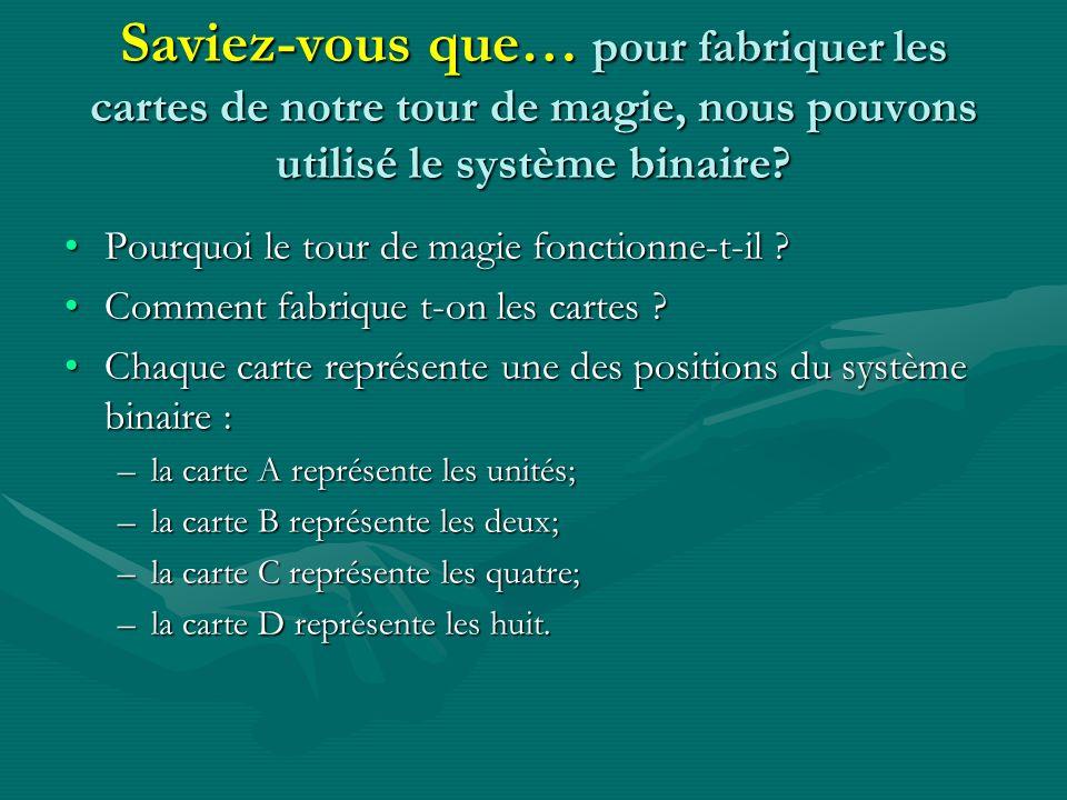 Saviez-vous que… pour fabriquer les cartes de notre tour de magie, nous pouvons utilisé le système binaire? Pourquoi le tour de magie fonctionne-t-il