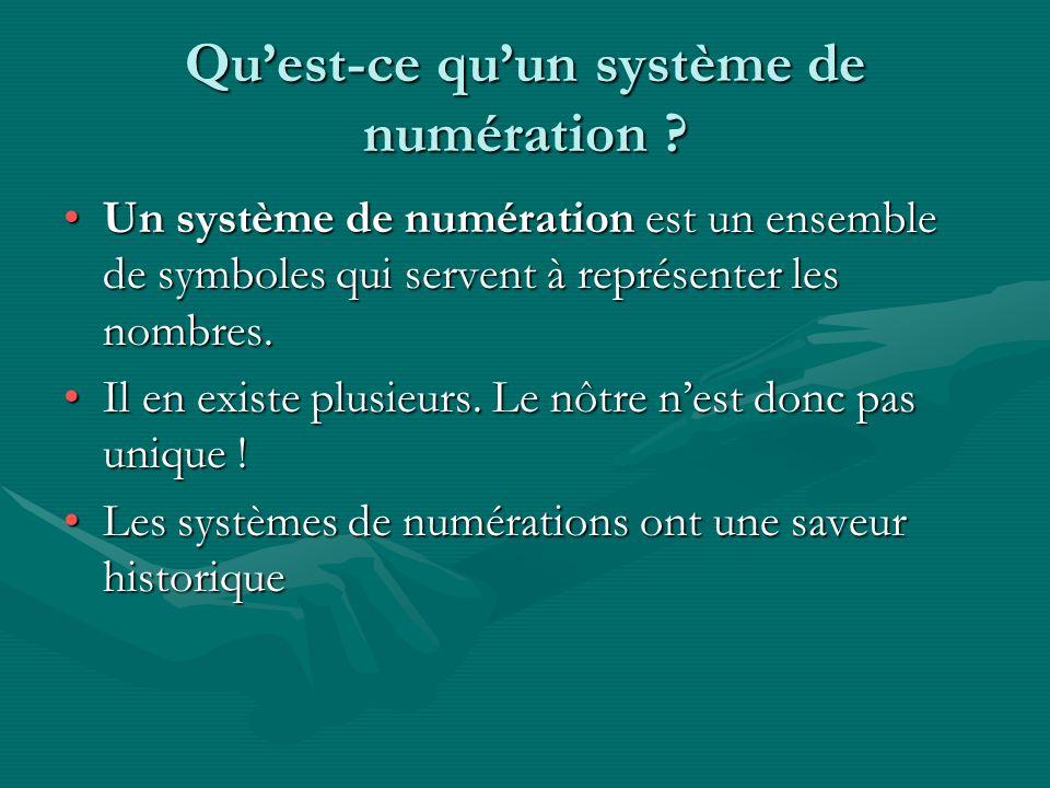 Quest-ce quun système de numération ? Un système de numération est un ensemble de symboles qui servent à représenter les nombres.Un système de numérat