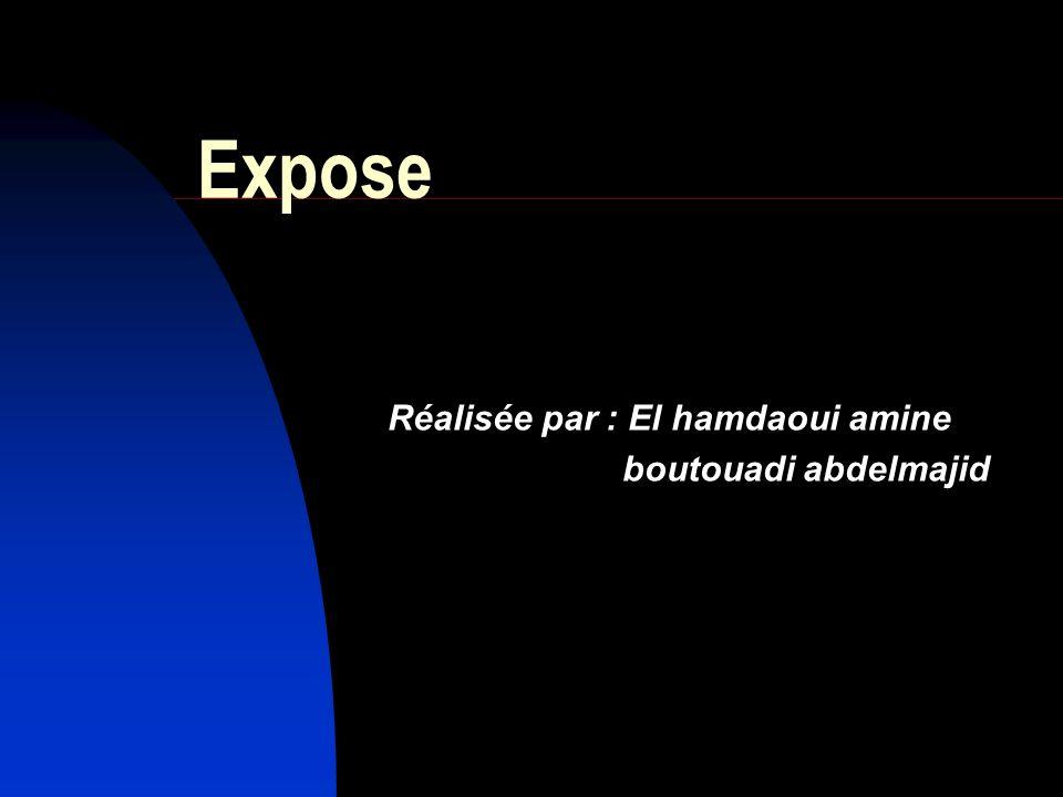 Expose Réalisée par : El hamdaoui amine boutouadi abdelmajid