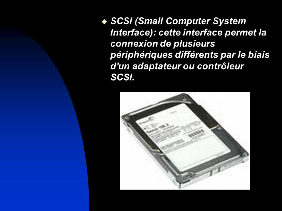 SCSI (Small Computer System Interface): cette interface permet la connexion de plusieurs périphériques différents par le biais d'un adaptateur ou cont