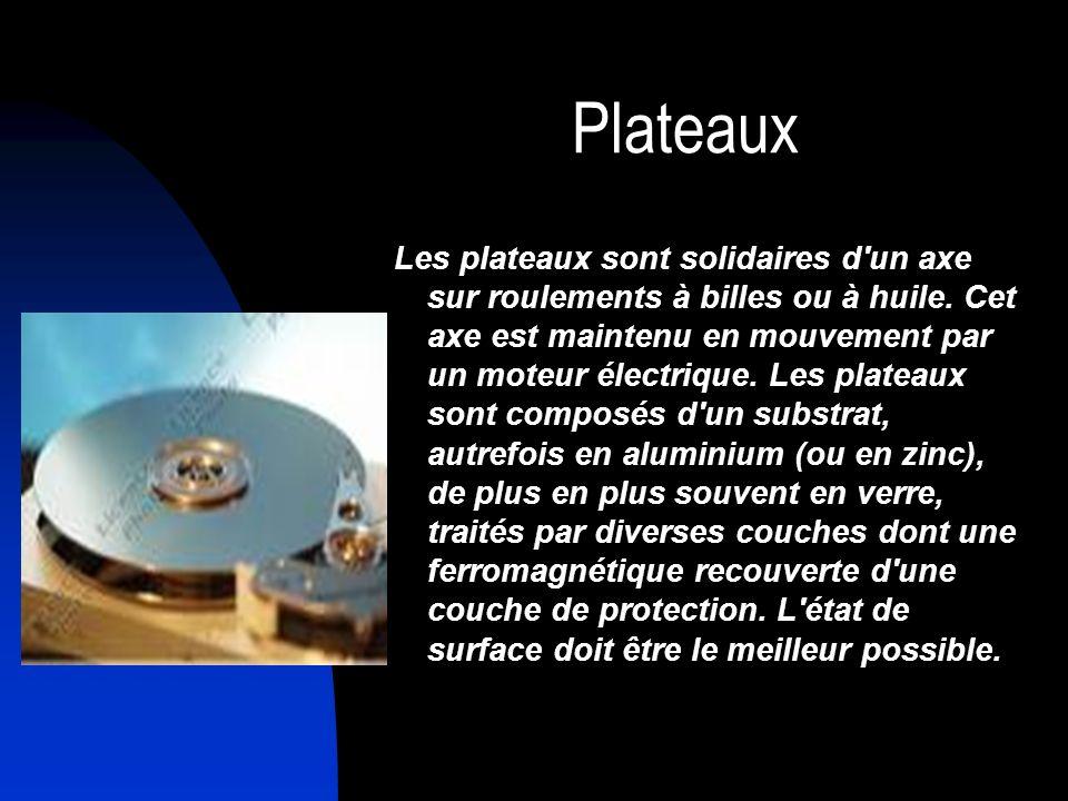 Plateaux Les plateaux sont solidaires d'un axe sur roulements à billes ou à huile. Cet axe est maintenu en mouvement par un moteur électrique. Les pla