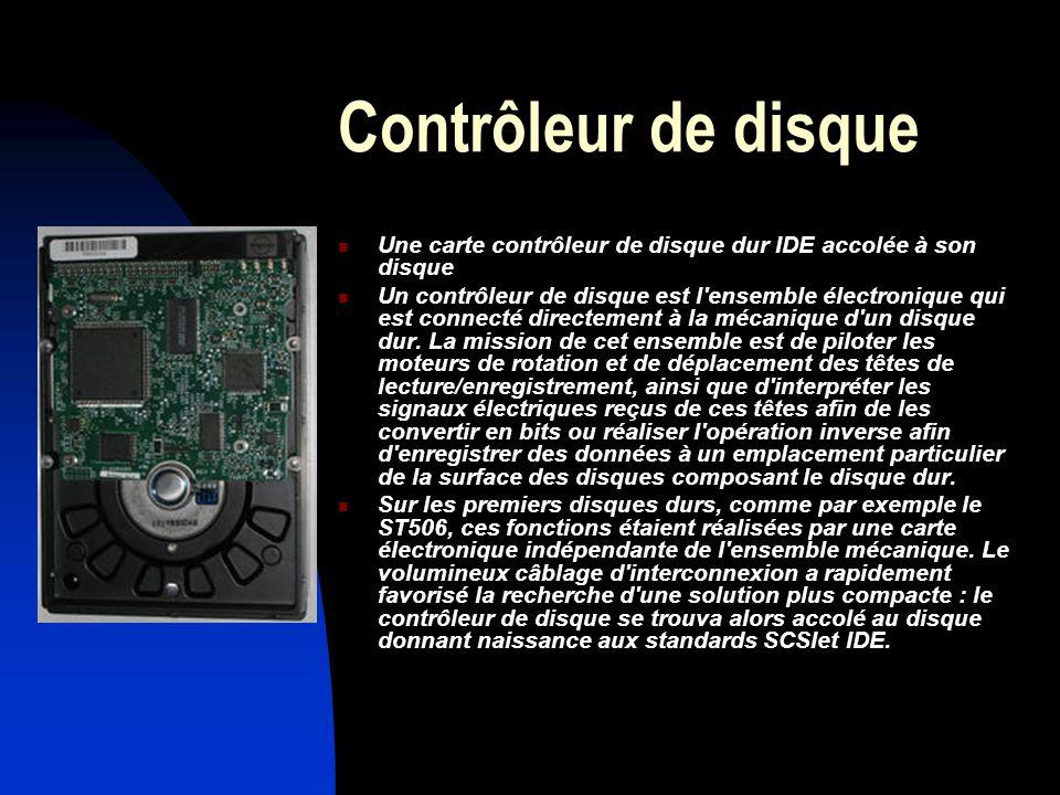 Contrôleur de disque Une carte contrôleur de disque dur IDE accolée à son disque Un contrôleur de disque est l'ensemble électronique qui est connecté