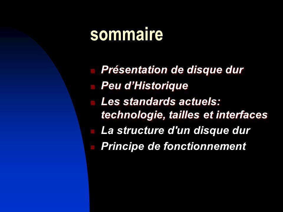 sommaire Présentation de disque dur Présentation de disque dur Peu dHistorique Peu dHistorique Les standards actuels: technologie, tailles et interfac