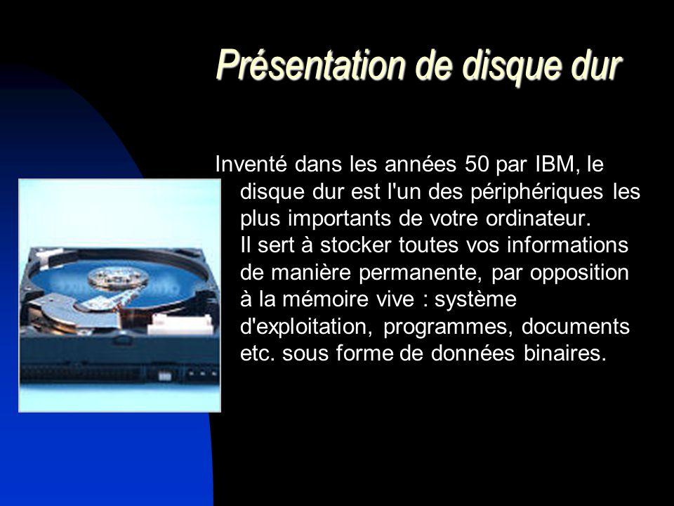 Présentation de disque dur Inventé dans les années 50 par IBM, le disque dur est l'un des périphériques les plus importants de votre ordinateur. Il se