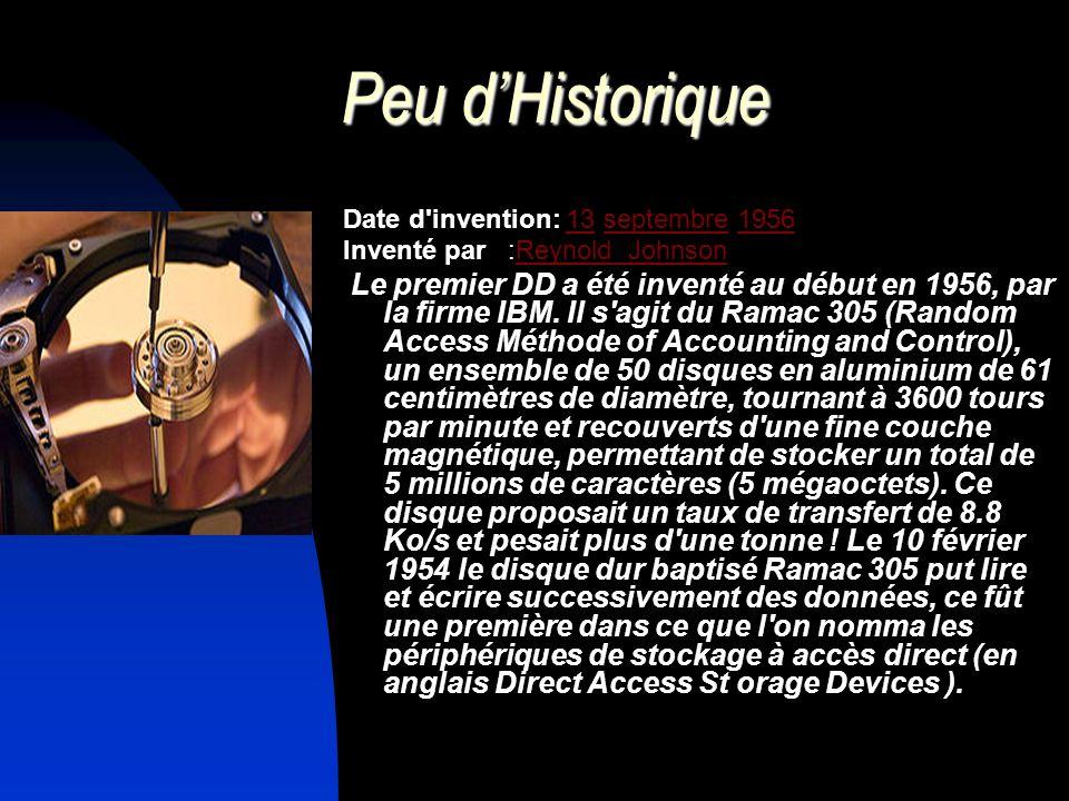 Peu dHistorique Date d'invention: 13 septembre 195613septembre1956 Inventé par :Reynold Johnson Le premier DD a été inventé au début en 1956, par la f