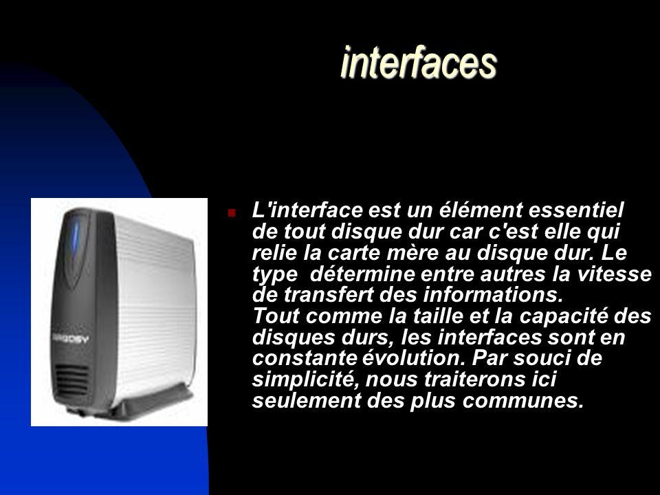 interfaces L'interface est un élément essentiel de tout disque dur car c'est elle qui relie la carte mère au disque dur. Le type détermine entre autre