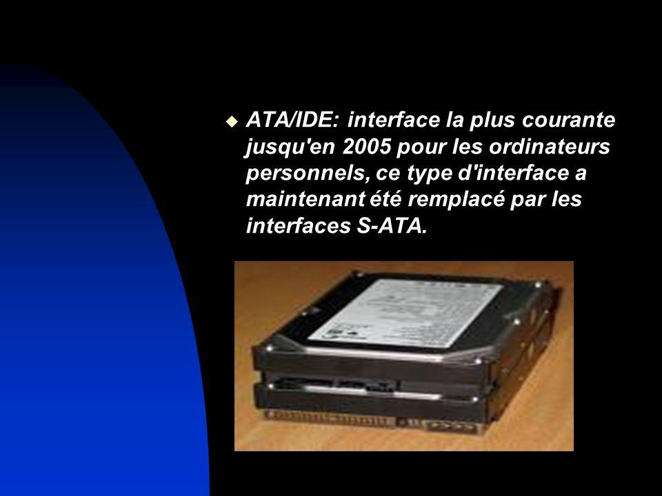 ATA/IDE: interface la plus courante jusqu'en 2005 pour les ordinateurs personnels, ce type d'interface a maintenant été remplacé par les interfaces S-