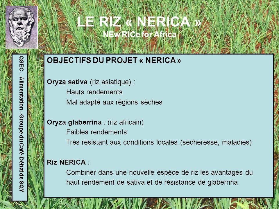 LE RIZ « NERICA » NEw RICe for Africa QSEC – Alimentation - Groupe du Café-Débat de SQY PROBLEMES A RESOUDRE Les deux espèces ont évolué indépendamment depuis des milliers dannées, doù : - le croisement naturel des deux espèces est difficile - les produits obtenus (« hybrides ») sont stériles Rester proche des techniques de sélection naturelle Etre attentif à la défense de la propriété intellectuelle