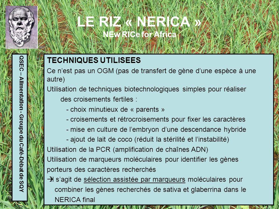 LE RIZ « NERICA » NEw RICe for Africa QSEC – Alimentation - Groupe du Café-Débat de SQY RESULTATS OBTENUS Rendement plus élevé que Oryza glaberrina + 50% sans engrais + 200% avec engrais Teneur en protéines plus élevée (+ 2%) Cycle plus court (30 à 50 jours de moins entre semis et moisson) Meilleure résistance à la sécheresse Résistance à certaines maladies (RYMV) Résistance accrue à certains parasites Feuillu, étouffe les mauvaises herbes moins de désherbage