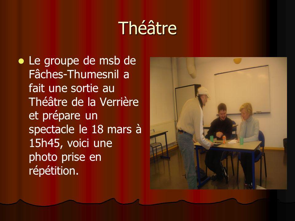 Théâtre Le groupe de msb de Fâches-Thumesnil a fait une sortie au Théâtre de la Verrière et prépare un spectacle le 18 mars à 15h45, voici une photo prise en répétition.