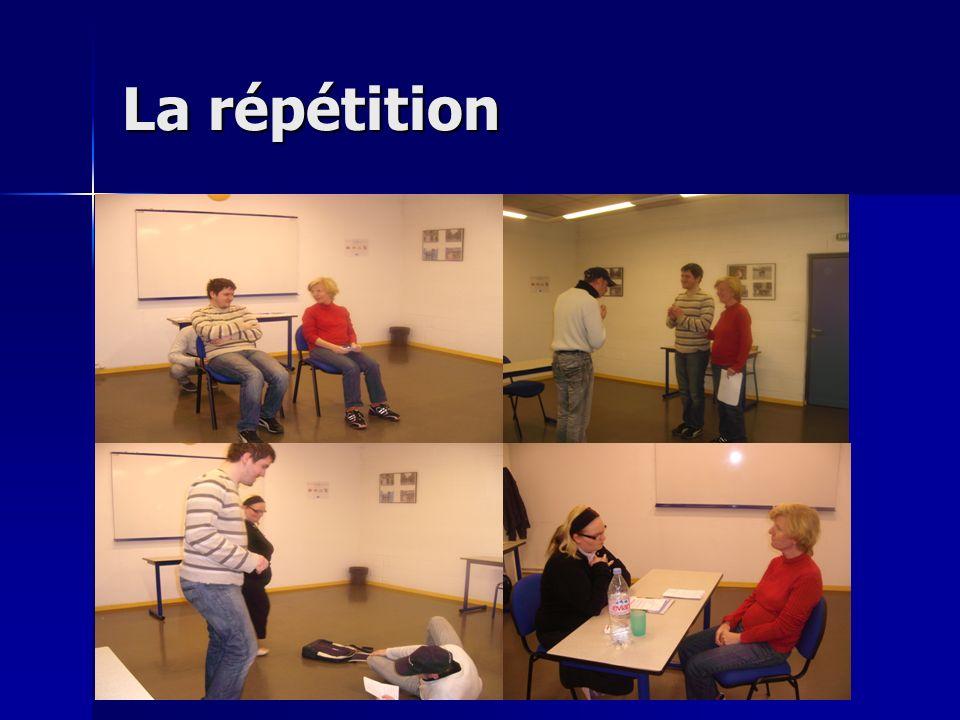 Les répétitions Les répétitions se passent le plus souvent dans la salle polyvalente avec notre prof Mathilde qui est super.
