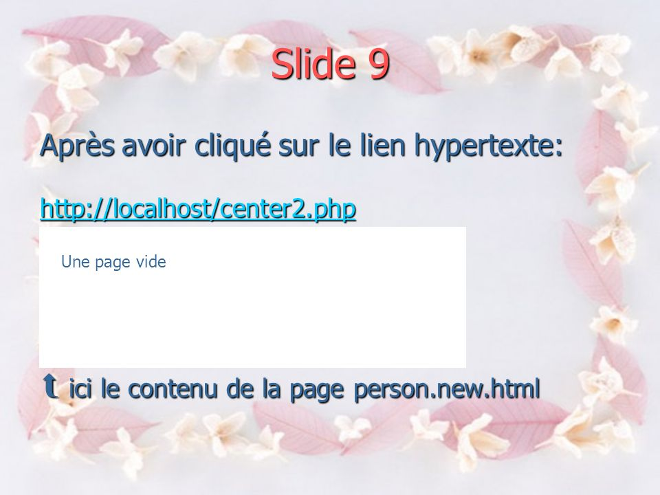 Slide 8 Person.html add a new person add a new person add a new decision center de type linker add a new decision center de type linker add a default decision add a default decision new: person.new.html new: person.new.html http://localhost/index.php add a new person lien hypertexte