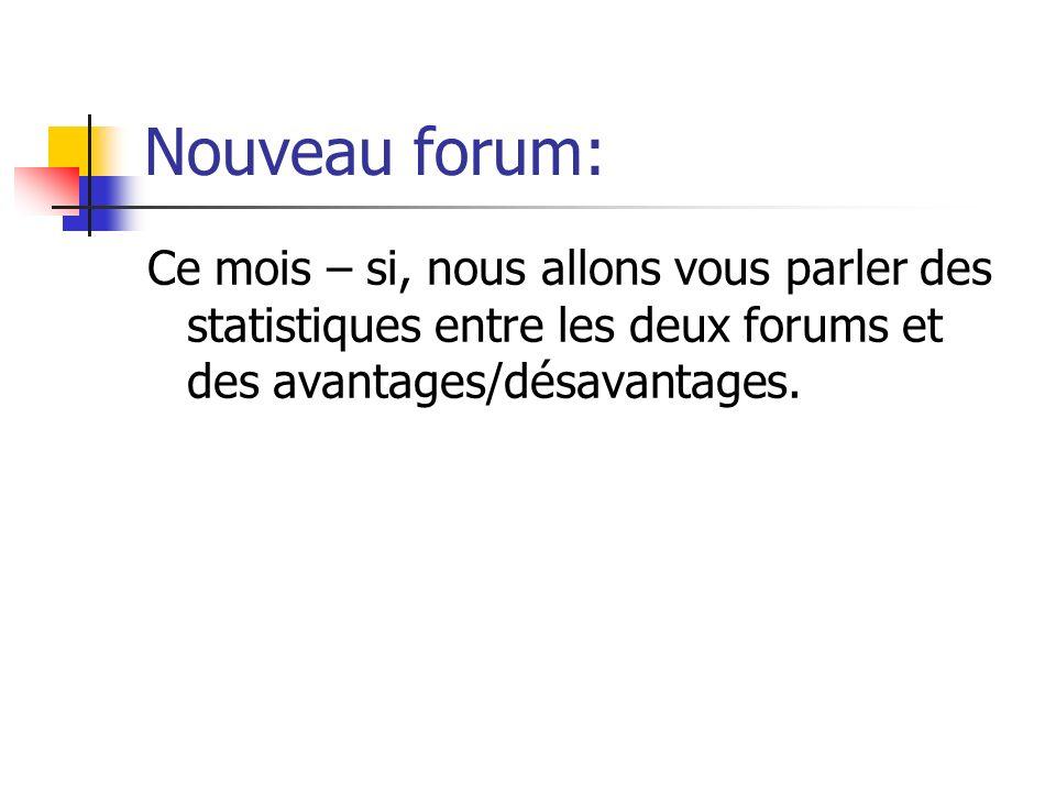 Nouveau forum: Ce mois – si, nous allons vous parler des statistiques entre les deux forums et des avantages/désavantages.