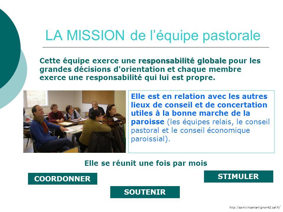 http://saintvincentenlignon42.cef.fr / LA MISSION de léquipe pastorale responsabilité globale Cette équipe exerce une responsabilité globale pour les