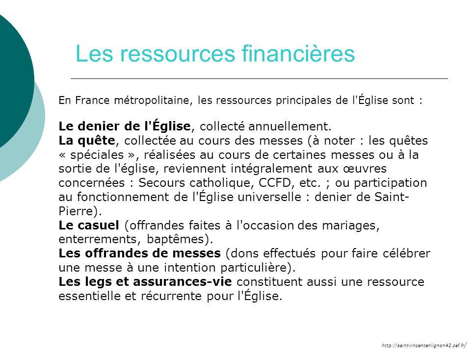 http://saintvincentenlignon42.cef.fr / Les ressources financières En France métropolitaine, les ressources principales de l'Église sont : Le denier de