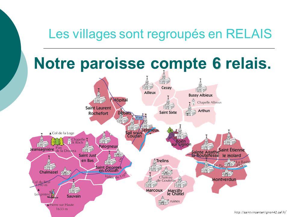 http://saintvincentenlignon42.cef.fr / Les villages sont regroupés en RELAIS 6 Notre paroisse compte 6 relais.