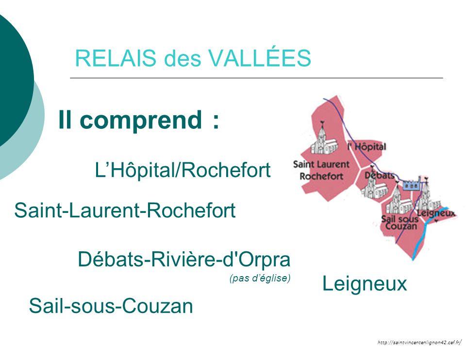 http://saintvincentenlignon42.cef.fr / RELAIS des VALLÉES Il comprend : Leigneux Débats-Rivière-d'Orpra (pas déglise) Saint-Laurent-Rochefort Sail-sou