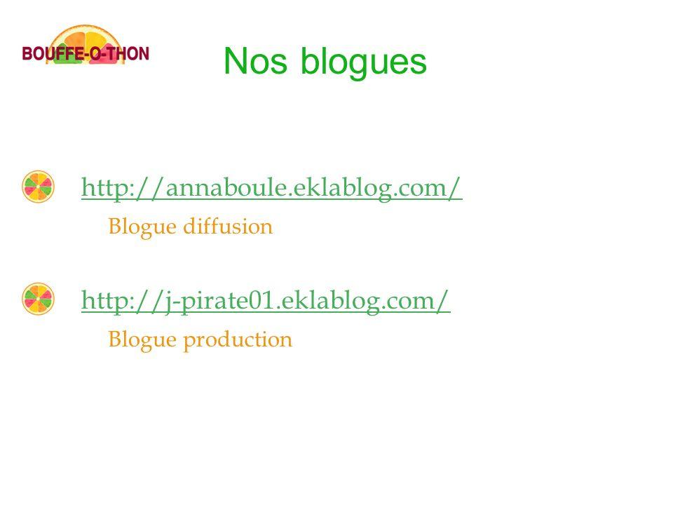 http://annaboule.eklablog.com/ Blogue diffusion http://j-pirate01.eklablog.com/ Blogue production Nos blogues