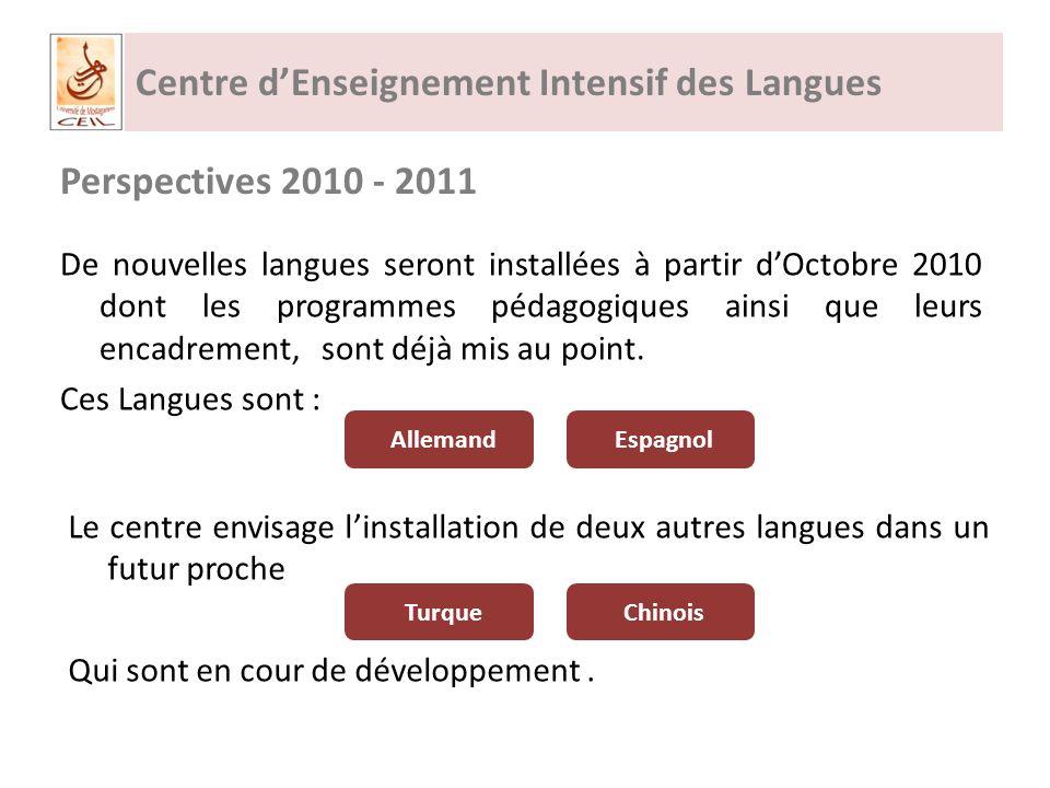Centre dEnseignement Intensif des Langues Perspectives 2010 - 2011 De nouvelles langues seront installées à partir dOctobre 2010 dont les programmes pédagogiques ainsi que leurs encadrement, sont déjà mis au point.