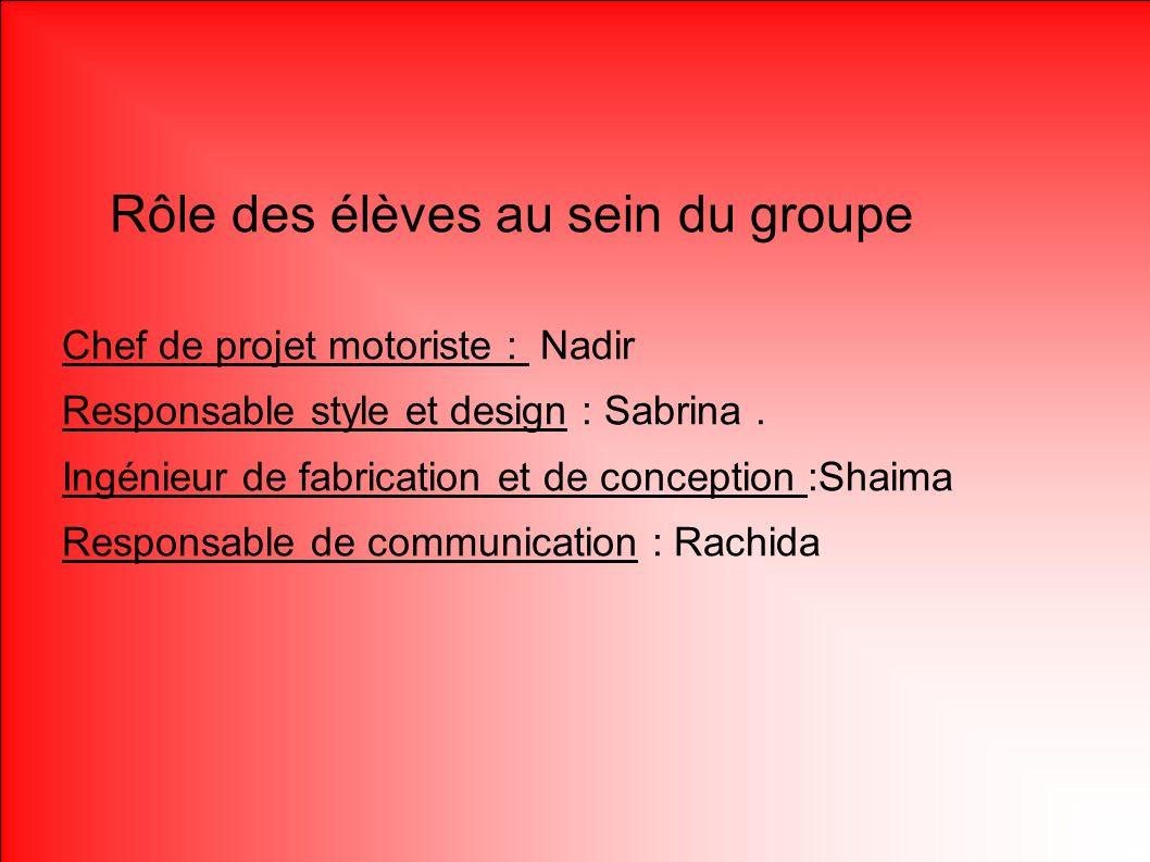 Rôle des élèves Rôle des élèves au sein du groupe Chef de projet motoriste : Nadir Responsable style et design : Sabrina. Ingénieur de fabrication et