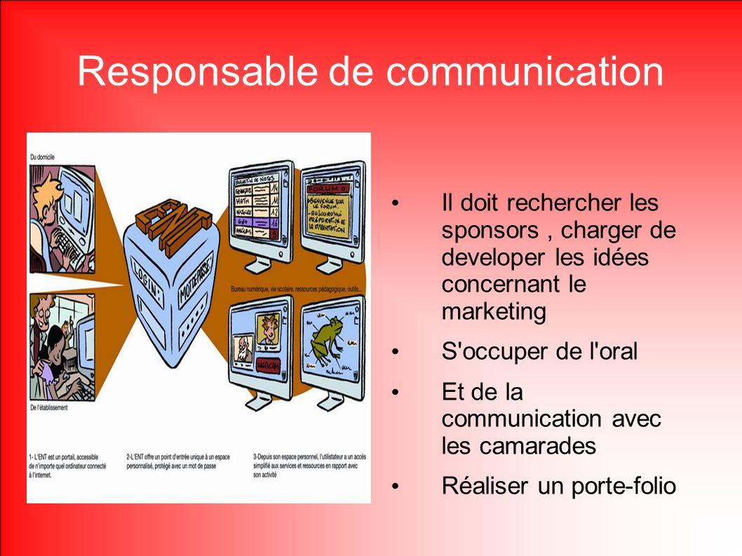 Responsable de communication Il doit rechercher les sponsors, charger de developer les idées concernant le marketing S'occuper de l'oral Et de la comm