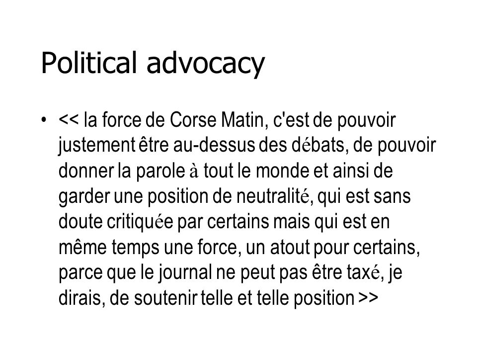 Political advocacy >