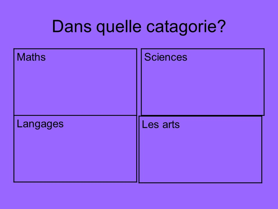 Dans quelle catagorie? Maths Langages Sciences Les arts