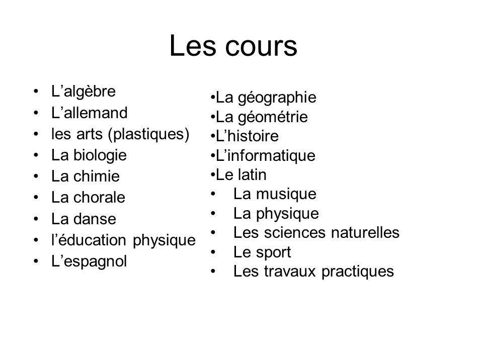 Les cours Lalgèbre Lallemand les arts (plastiques) La biologie La chimie La chorale La danse léducation physique Lespagnol La géographie La géométrie