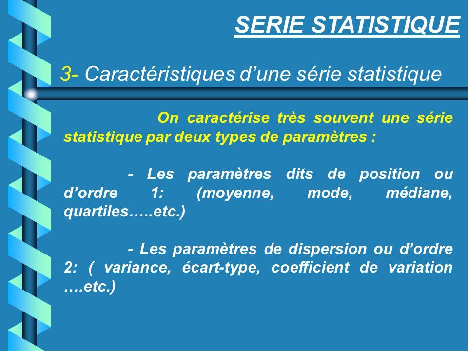 3- Caractéristiques dune série statistique SERIE STATISTIQUE On caractérise très souvent une série statistique par deux types de paramètres : - Les pa
