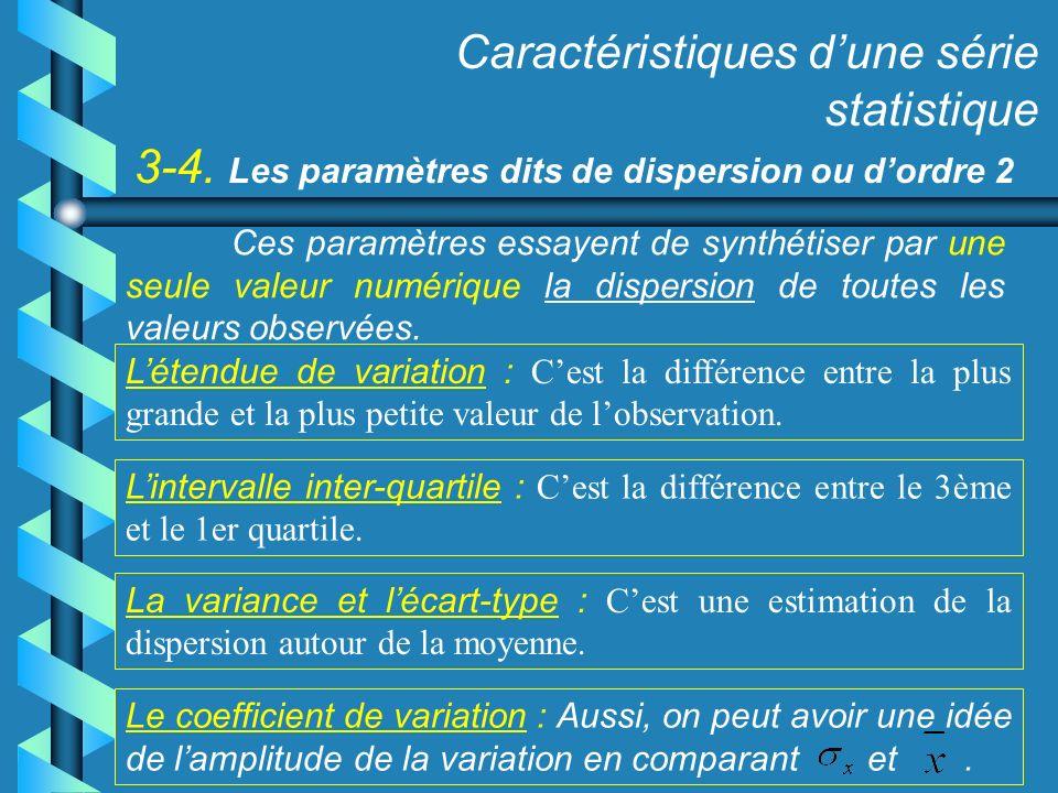 3-4. Les paramètres dits de dispersion ou dordre 2 Caractéristiques dune série statistique Létendue de variation : Cest la différence entre la plus gr