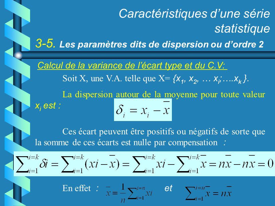 3-5. Les paramètres dits de dispersion ou dordre 2 Caractéristiques dune série statistique Calcul de la variance de lécart type et du C.V: Soit X, une