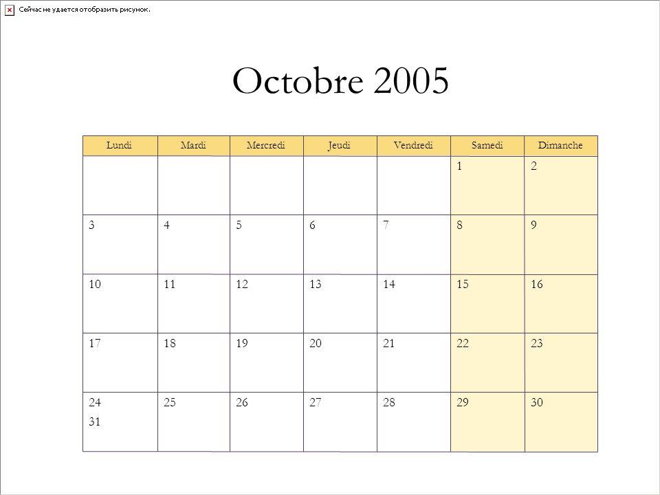 Octobre 2005 30292827262524 31 23222120191817 16151413121110 9876543 21 DimancheSamediVendrediJeudiMercrediMardiLundi