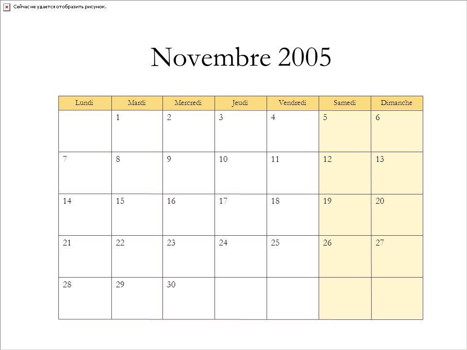 Novembre 2005 302928 27262524232221 20191817161514 13121110987 654321 DimancheSamediVendrediJeudiMercrediMardiLundi