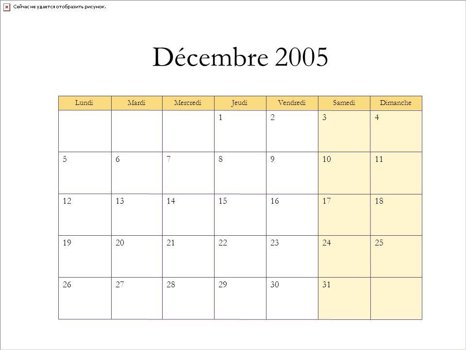 Décembre 2005 313029282726 25242322212019 18171615141312 111098765 4321 DimancheSamediVendrediJeudiMercrediMardiLundi