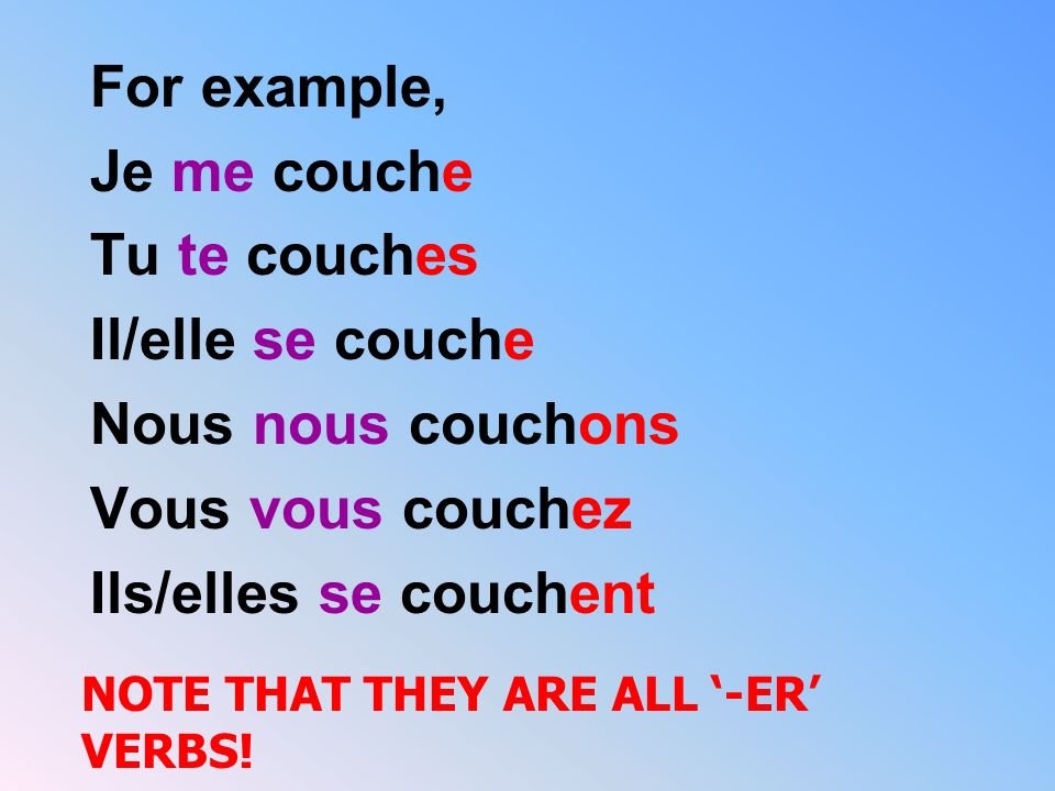 For example, Je me couche Tu te couches Il/elle se couche Nous nous couchons Vous vous couchez Ils/elles se couchent NOTE THAT THEY ARE ALL -ER VERBS!