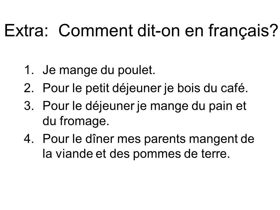 Extra: Comment dit-on en français. 1.Je mange du poulet.