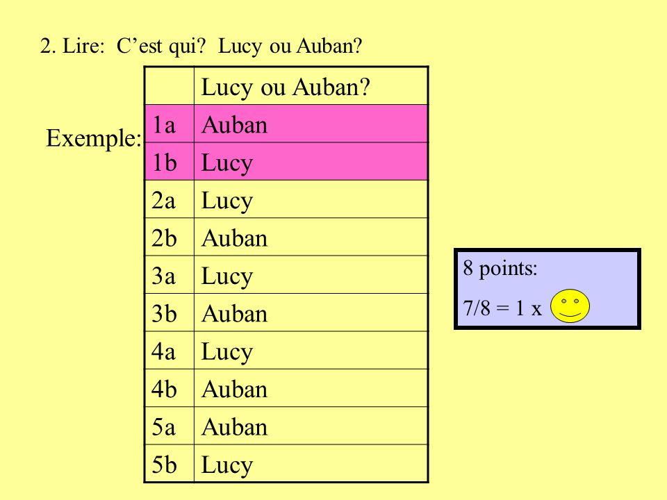 2. Lire: Cest qui. Lucy ou Auban. Lucy ou Auban.