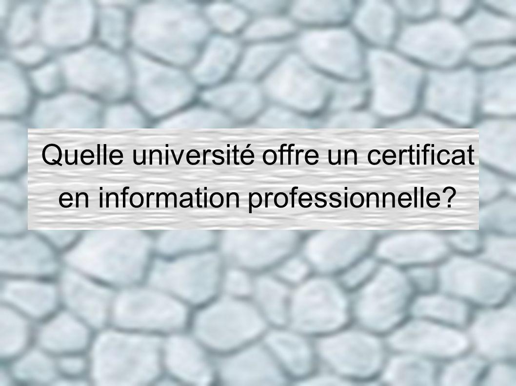 Quelle université offre un certificat en information professionnelle?